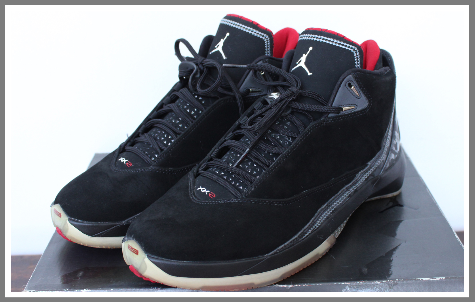 fe41ef2dcd5 Jordan XXII 22(black/varsity red/silver) 315299-001. Php 6,000 – DEADSTOCK  sz. 11 -minimal yellowing on the clear soles, all accessories included.